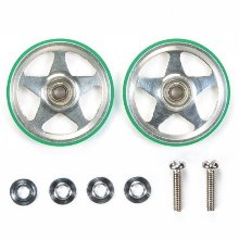 [95493]19mm Aluminum Rollers 5 Spokes Green TAMIYA MINI4WD